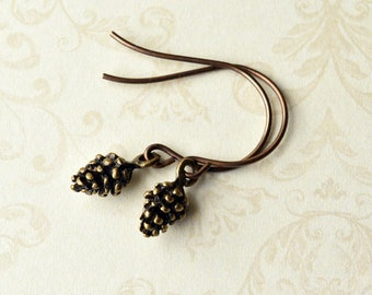 Pinecone Dangle Earrings - Gift for Her - Boho Earrings - Handmade Earrings - Autumn Jewellery