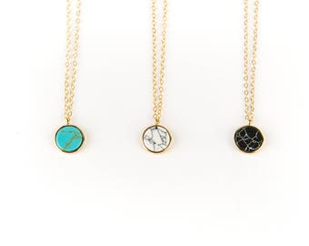 Stone Circle 14kt Gold Necklace // Geometric Jewelry // White Howlite, Turquoise, Black // Layering Necklace // Choker // Circle