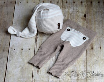Newborn Boy Outfit Upcycled Newborn Boy Pants w/ Bum Flap and Upcycled Newborn Knot Hat Newborn Outfit in Neutral Colors - Ready to Ship