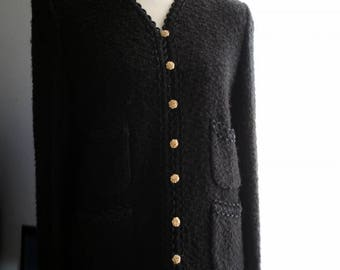Vintage Blazer / 60s Classic Boucle Knit Pocketed Black Jacket / Gold Buttons / Halloween Black / Small / Long Sleeves