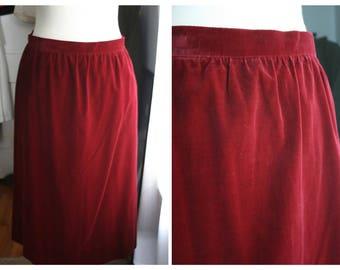 Vintage Skirt / 70s Velvet Midi Skirt / Medium / Burgundy Red Cotton Velvet Fall And Winter Full Skirt / Japanese Skirt