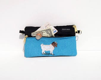Boer Goat 2 Compartment Pouch on Blue