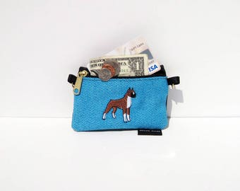 Cropped Ear Boxer Dog, Full Body,  Coin Purse on Blue