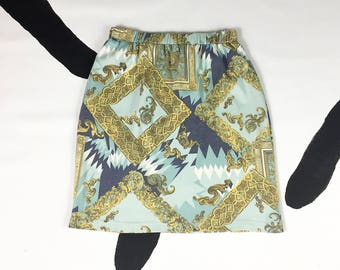 90's rococo baroque scarf print knit cotton skirt 1990's deadstock USA opulent golden picture frame gilded Versace Lacroix printed skirt M