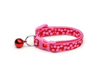 Polka Dot Cat Collar - Pink Dots on Red - Breakaway Cat Collar - Kitten or Large size