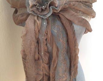 Scarf - Fringed Scarf - Silk and Merino Scarf - Women's Fashion Scarf