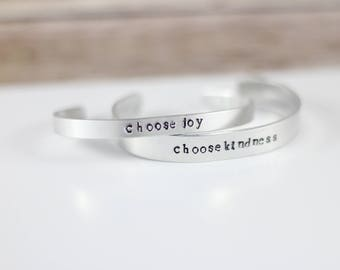 Choose Joy Bracelet, Choose Kindness Bracelet, Stamped Cuff, Skinny Cuff, Cuff Bracelet, Hand stamped Cuff,  Metal bangle, layering bangle