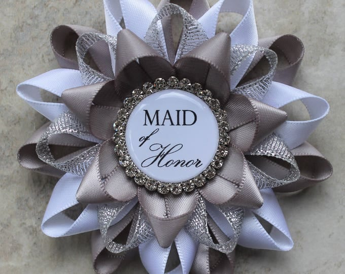 Silver Bridal Shower Decorations, Gift for Mother of Groom, Gift for Mother of Bride, Bridal Shower Pins, Gray, Bridal Shower Name Tags
