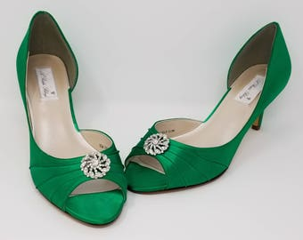 Emerald Green Bridal Shoes Emerald Green Wedding Shoes with Crystal Swirl or PICK FROM 100 COLORS Bridesmaid Shoes