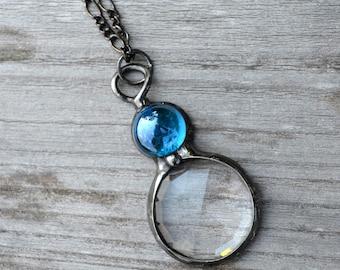 Kaleidoscope Necklace, Psychedelic, Long Necklace, Kaleidoscope Pendant, Glass Prism, Sparkly Necklace, Handmade Kaleidoscope (2287)