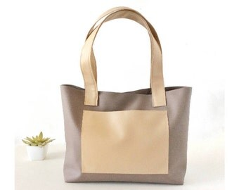 Mini tote purse vegan leather tote bag, top handle bag shoulder bag vegan leather shoulder bag, gray leather handbags, CHOOSE YOUR COLORS