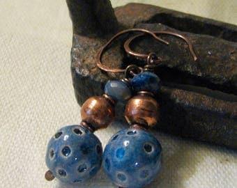 dark blue and copper dangle earrings