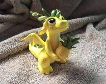 Polymer Clay Dragon Figurine with Pineapple