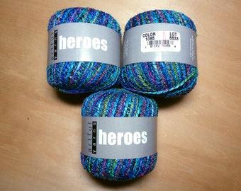 Destash - Artful Yarns Heroes Yarn Nylon Acrylic Mosaic Yarn Blue Green Pink Orange Yellow 3 Skeins