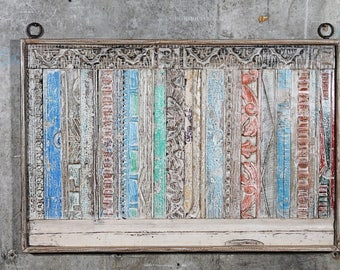 24 x 36 Carved Panel Reclaimed Wood Headboard Wall Art Wall Hanging Wood  Carving