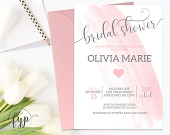 Watercolor Bridal Shower Invitation Watercolor Bridal Invite