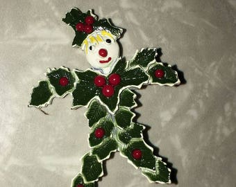 Vintage Holly Snowman Pin