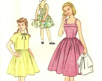 1950's Sundress and Jacket Pattern Chest 30 Full Skirt Size 12 McCall's 3211