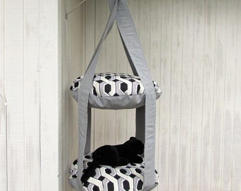 Outdoor Cat Bed. Grey, Black U0026 White Chain Link 2 Level Kitty Cloud Cat