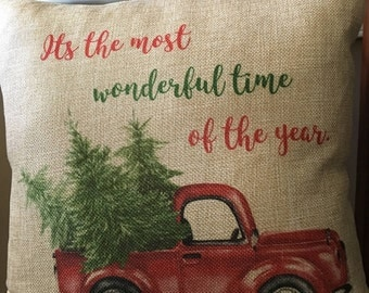 Christmas Pillow, FREE SHIPPING, Vintage Pillow, Vintage Truck Pillow Cover,   Holiday Pillow, Red Truck Christmas Pillow
