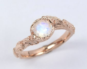 Rose gold moonstone ring, Nature inspired ring, Leaf engagement ring, Oak tree promise ring, Floral Ring, Gold Leaves Ring, Boho bridal ring