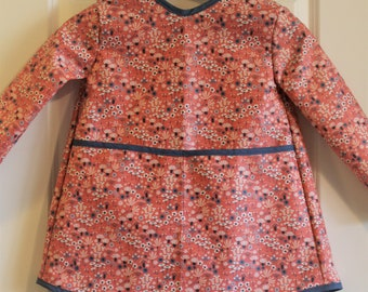 Extra Long Girls Long Sleeved Art Smock Organic Cotton Apron Kids Smock in Pink with Mini Flowers