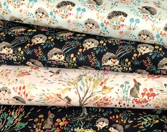 Windham ENCHANTED FOREST Half Yard Fabric Bundle, Woodland Fabric, Woodland Nursery, Hedgehogs, Rabbits, Bunnies, Cotton Quilt Fabric