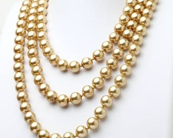 "Hand Knotted Champagne Pearl Necklace 60"" Long Extra Long Necklace"