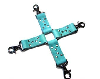 HOG TIE Turquoise and Gunmetal Leather BDSM Restraint - Mature