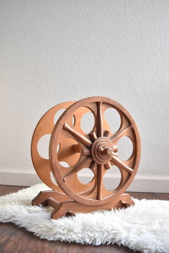 vintage wood circle wine bottle rack / mid century wooden wine holder rack