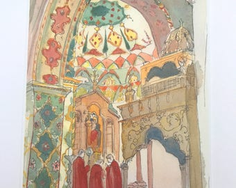 Watercolor - POSTCARD - Etchmiadzin Interior-Armenian architecture-Armenian card-Armenian gift