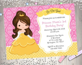 Belle birthday Invitation Invite belle birthday party invitation princess party printable DIY Print your own