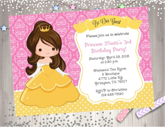Belle birthday invitation invite belle birthday party invitation il570xn filmwisefo