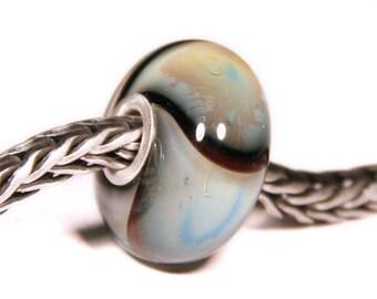 Lampwork by Anne Meiborg - Artisan charm bead small core - BHB glassbead - Black Blue Armadillo - 06265