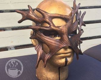 Earthy Brown Gold Dryad Mask - Handmade Leather Tree Spirit Druid Warrior Fantasy Mask