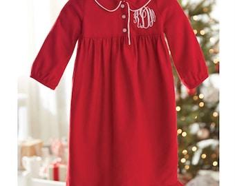 Girls Monogramed Christmas pajamas, christmas gown, monogrammed gown, personalized christmas sleeper