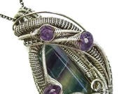 Fluorite Wire-Wrapped Pendant in Antiqued Sterling Silver with Amethyst