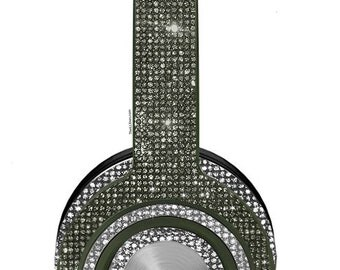 Custom Black Clarity Monster Bedazzled Headphones made with Swarovski Crystals, Wireless On-Ear Monster Headphones, Bling headphones