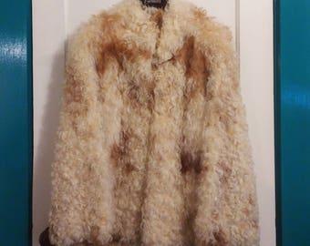 Vintage Curly Lamb Fur Coat, Blonde & Brown, 1970's