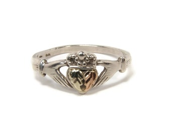 Black Hills Gold Claddagh Ring, Sterling Silver, Size 7, Vintage Jewelry, 12K Gold, Irish Ring, Celtic Jewelry, Pinky Ring, Estate Jewelry