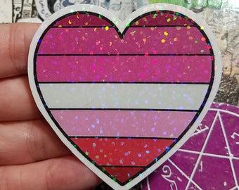 Holographic Sticker - Lipstick Lesbian flag heart
