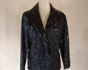 Black Sequin Blazer Evening Jacket Top Glam