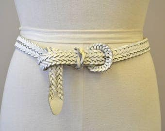 1980s White Leather Braided Belt
