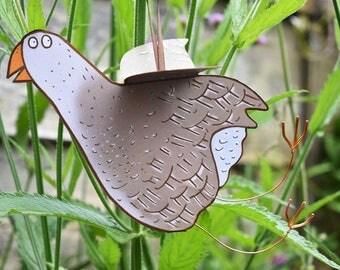 Goose Card - 3D handmade hanging card, bird card, goose greeting card, pop-out card, goose birthday card, goose blank inside card