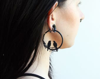 SALE Love Birds 10g Brass Hoop Earrings for Gauged Stretched Ears 10 Gauge Earrings Birds on Branch Sparrows Ritual Remains Small Hoops