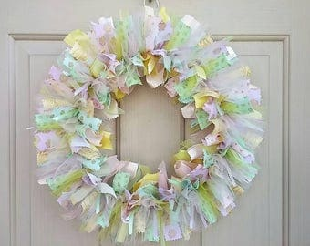 New Baby Wreath for Hospital, Welcome Baby Shower Decor, Gender Neutral Baby Nursery Decor, Bridal Shower Decor, Pastel Wreath, Party Decor