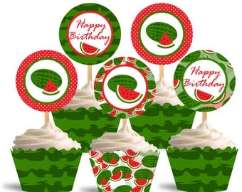 Watermelon Cupcake Toppers, Birthday Printable Cupcake Toppers, Watermelon Theme Party Decorations - Instant Download - DP496
