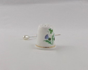 Vintage Thimble Purple Flower Made in England Sewing Notions Thimble Collector 1980s