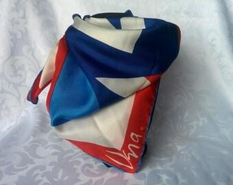 Vintage Vera Neuman Scarf, Vera Scarf, Vera Neuman Scarf Blue Red White, Scarf