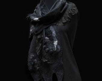 Felted Scarf - Black / Wool Silk Beading Antique Lace Art / Unique OOAK